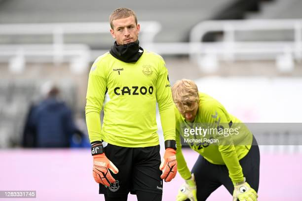 Jordan Pickford of Everton warms up prior to the Premier League match between Newcastle United and Everton at St. James Park on November 01, 2020 in...