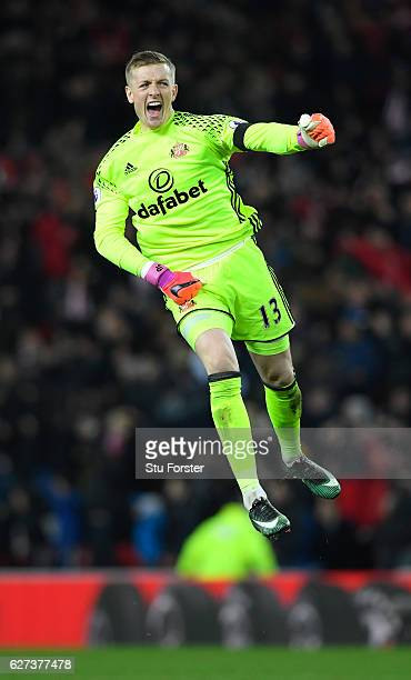 Jordan Pickford of Sunderland celebrates his team's first goal during the Premier League match between Sunderland and Leicester City at Stadium of...