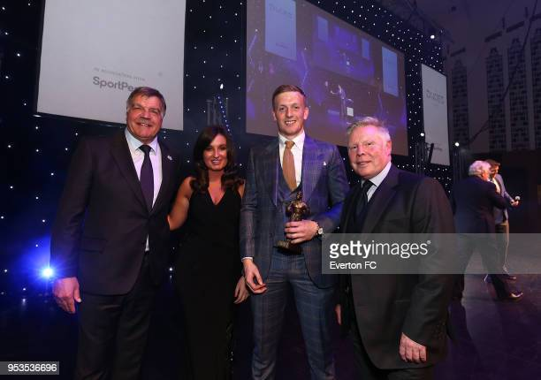 Jordan Pickford receives the Player of the Season award during the Everton FC Dixies awards at The Liverpool Philharmonic Hall on May 1 2018 in...