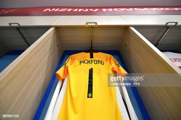 Jordan Pickford's shirt hangs in the England dressing room prior to the 2018 FIFA World Cup Russia group G match between England and Panama at Nizhny...