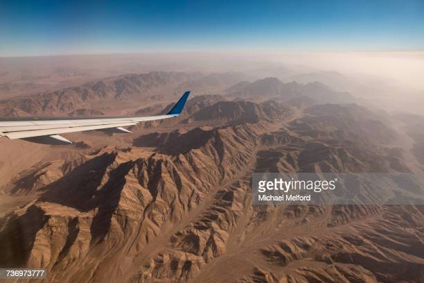 Flying over the mountains of Jordan.