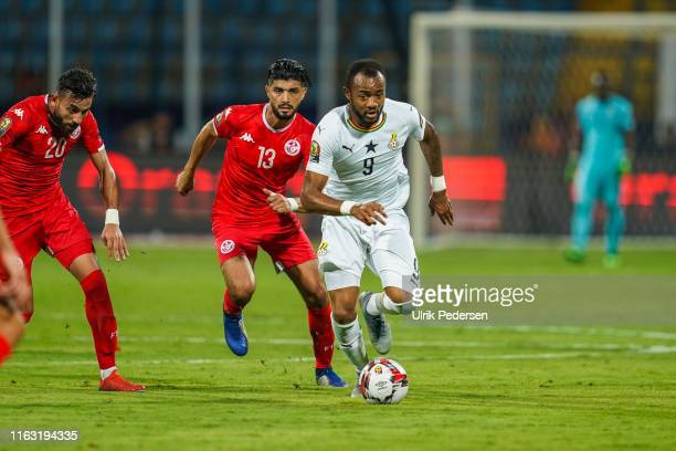 Jordan Pierre Ayew of Ghana during the 2019 Africa Cup of Nations round of 16 soccer match between Ghana and Tunisia at the Ismailia Stadium on 8th...