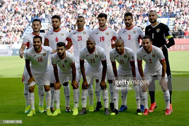 Jordan players poses during the AFC Asian Cup round of 16 match between Jordan and Vietnam at Al Maktoum Stadium on January 20 2019 in Dubai United...