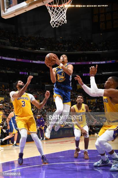 Jordan Poole of the Golden State Warriors drives to the basket against the Los Angeles Lakers on October 19, 2021 at STAPLES Center in Los Angeles,...