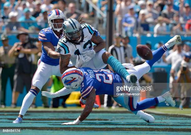 Jordan Poyer of the Buffalo Bills breaks up a pass intended for Kelvin Benjamin of the Carolina Panthers during their game at Bank of America Stadium...