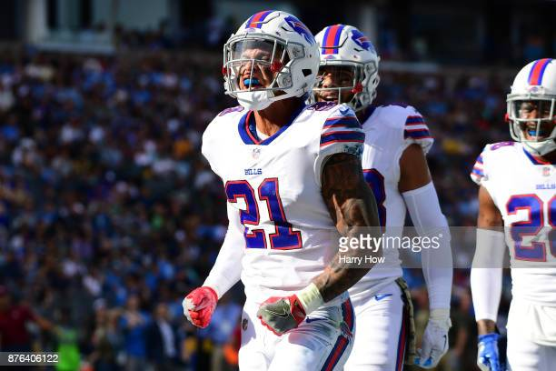 Jordan Poyer of the Buffalo Bills reacts after breaking up a pass play during the first quarter of the game against the Los Angeles Chargers at the...