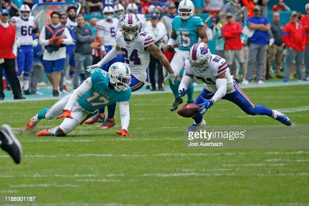 Jordan Poyer of the Buffalo Bills recovers the fumble by Allen Hurns of the Miami Dolphins during an NFL game on November 17, 2019 at Hard Rock...