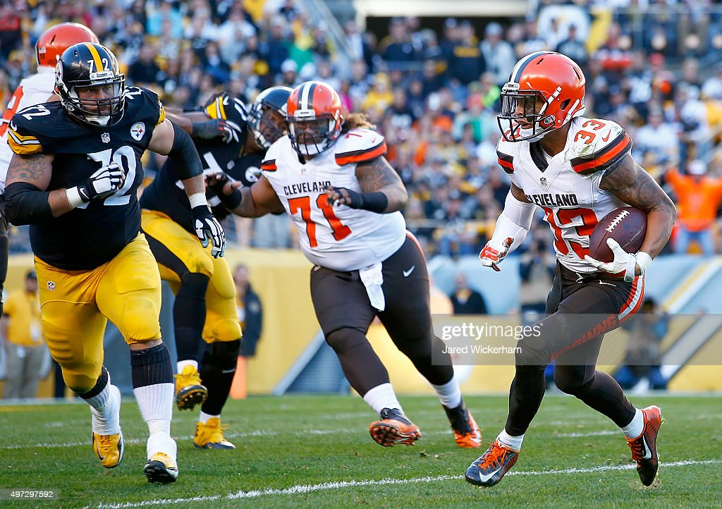 Jordan Poyer #33 of the Cleveland Browns runs after intercepting the ball in the 4th quarter of the game against the Pittsburgh Steelers at Heinz Field on November 15, 2015 in Pittsburgh, Pennsylvania.