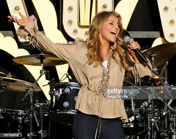 Jordan Pruitt performs at World Wish Day in front of 30 wish kids at The Grove on April 28 2010 in Los Angeles California