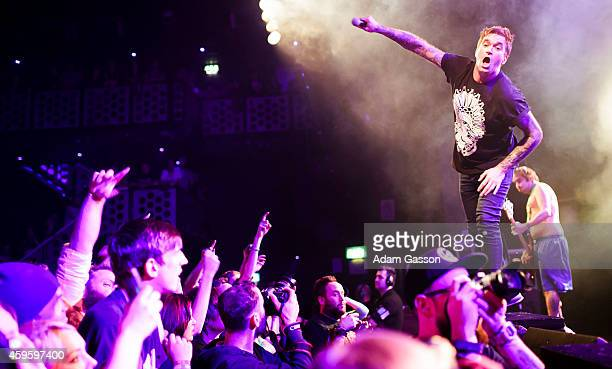 Jordan Pundik of New Found Glory performs on stage on the Pop Punk's Not Dead Tour at O2 Academy on November 25, 2014 in Bristol, United Kingdom.