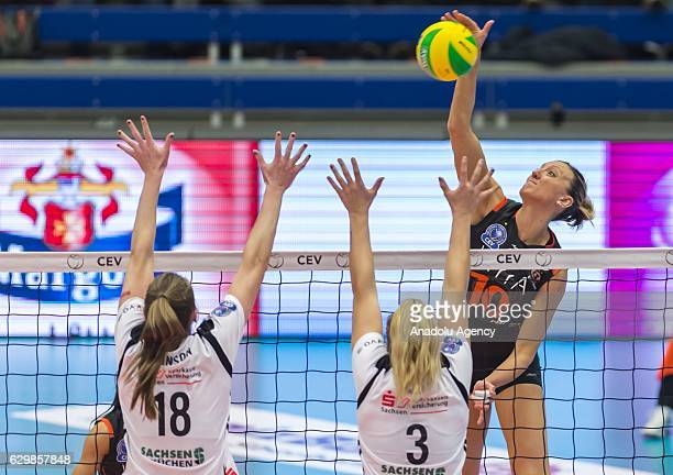 Jordan Quinn Larson of Eczacibasi VitrA in action against Joselynn Birks and Erin Johnson of Dresden SC during the Volleyball European Champions...