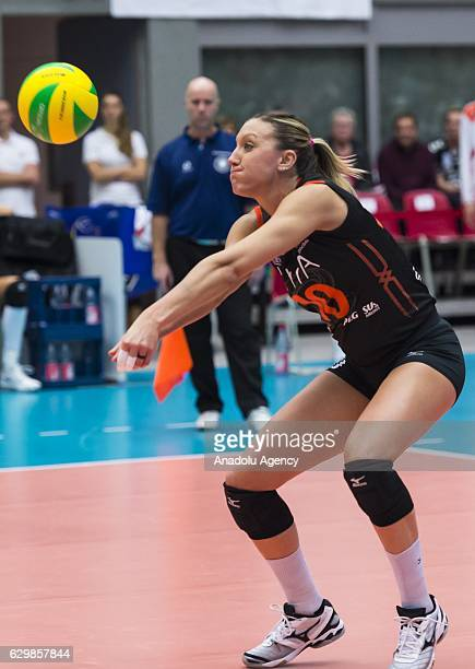 Jordan Quinn Larson of Eczacibasi VitrA in action during the Volleyball European Champions League Group D match between Dresdner SC and Eczacibasi...