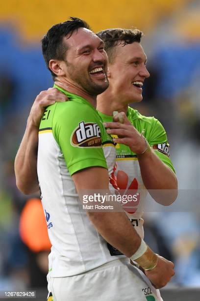 Jordan Rapana and Jack Wighton of the Raiders celebrates victory during the round 15 NRL match between the Gold Coast Titans and the Canberra Raiders...