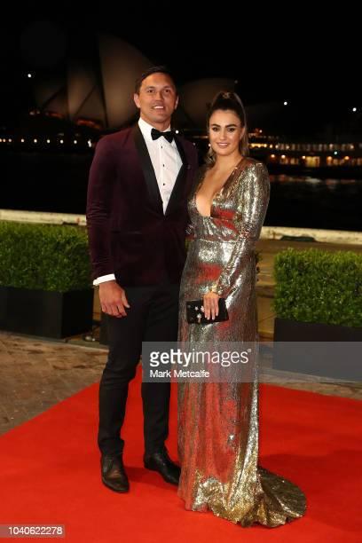 Jordan Rapana and Kelsie Kopp arrive at the 2018 Dally M Awards at Overseas Passenger Terminal on September 26 2018 in Sydney Australia