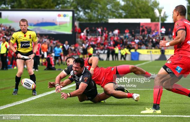 Jordan Rapana of the Kiwis loses the ball over the line during the 2017 Rugby League World Cup match between the New Zealand Kiwis and Tonga at...