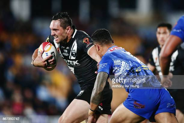Jordan Rapana of the Kiwis makes a break during the 2017 Rugby League World Cup match between the New Zealand Kiwis and Samoa at Mt Smart Stadium on...