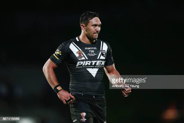 Jordan Rapana of the Kiwis reacts during the 2017 Rugby League World Cup match between the New Zealand Kiwis and Samoa at Mt Smart Stadium on October...