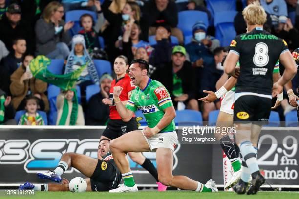 Jordan Rapana of the Raiders celebrates scoring a try during the round 18 NRL match between the Canberra Raiders and the Cronulla Sharks at Cbus...