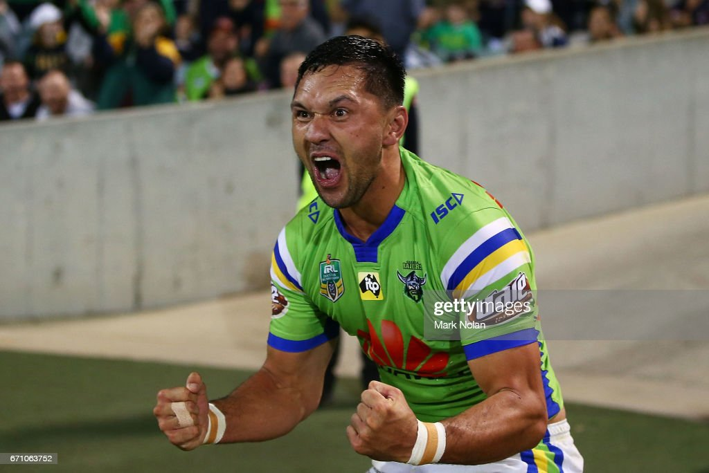 Jordan Rapana of the Raiders celebrates scoring a try during the round eight NRL match between the Canberra Raiders and the Manly Sea Eagles at GIO Stadium on April 21, 2017 in Canberra, Australia.