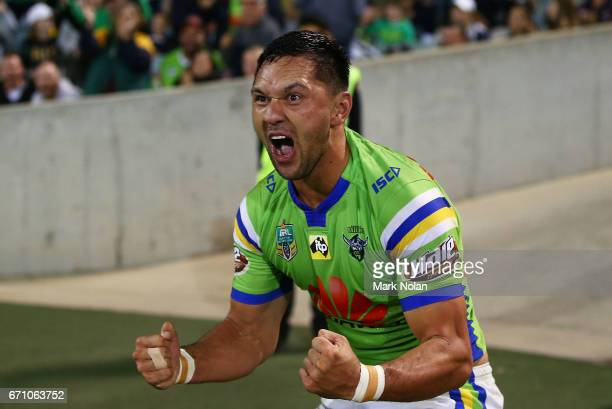 Jordan Rapana of the Raiders celebrates scoring a try during the round eight NRL match between the Canberra Raiders and the Manly Sea Eagles at GIO...