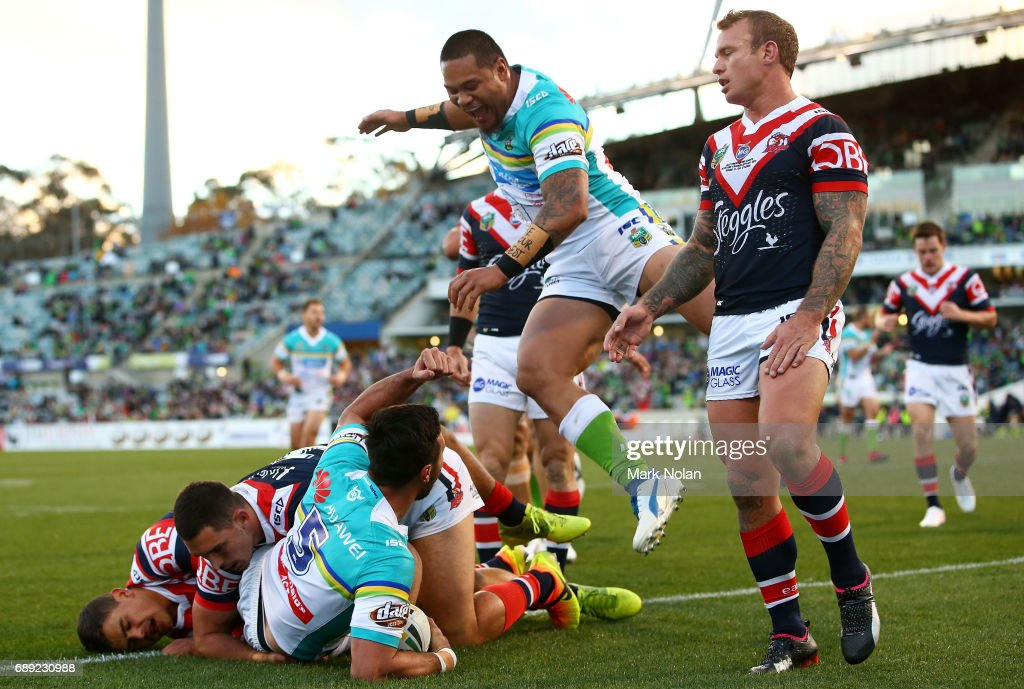 Jordan Rapana of the Raiders celebrtaes scoring a try during the round 12 NRL match between the Canberra Raiders and the Sydney Roostrers at GIO Stadium on May 28, 2017 in Canberra, Australia.
