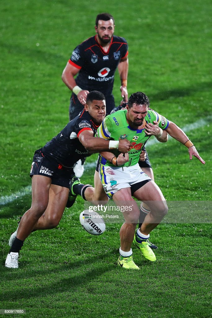 Jordan Rapana of the Raiders drops the ball during the round 23 NRL match between the New Zealand Warriors and the Canberra Raiders at Mt Smart Stadium on August 13, 2017 in Auckland, New Zealand.