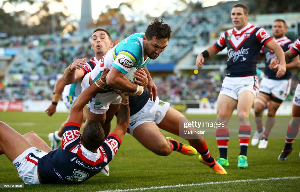 Jordan Rapana of the Raiders heads for the try line to score during the round 12 NRL match between the Canberra Raiders and the Sydney Roostrers at GIO Stadium on May 28, 2017 in Canberra, Australia.