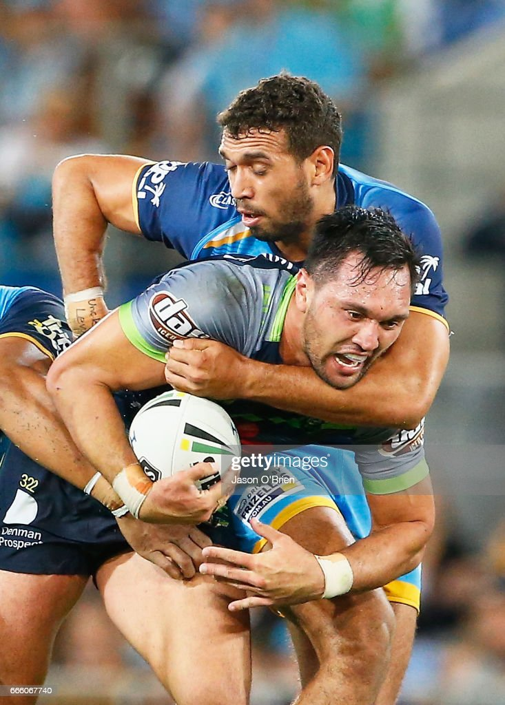Jordan Rapana of the Raiders in action during the round six NRL match between the Gold Coast Titans and the Canberra Raiders at Cbus Super Stadium on April 8, 2017 in Gold Coast, Australia.