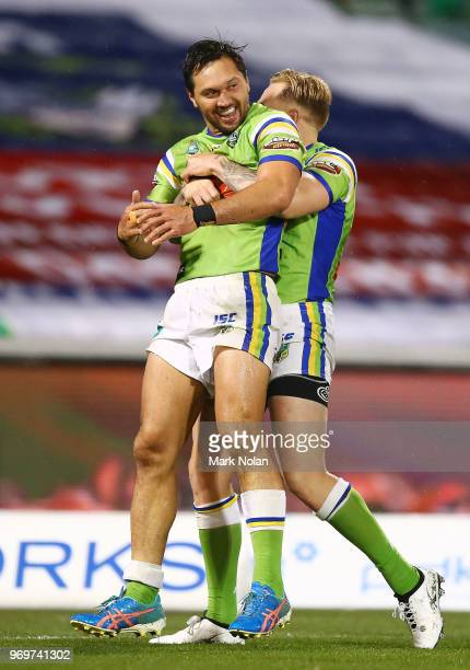 Jordan Rapana of the Raiders is congratulated after scoring during the round 14 NRL match between the Canberra Raiders and the Penrith Panthers at...