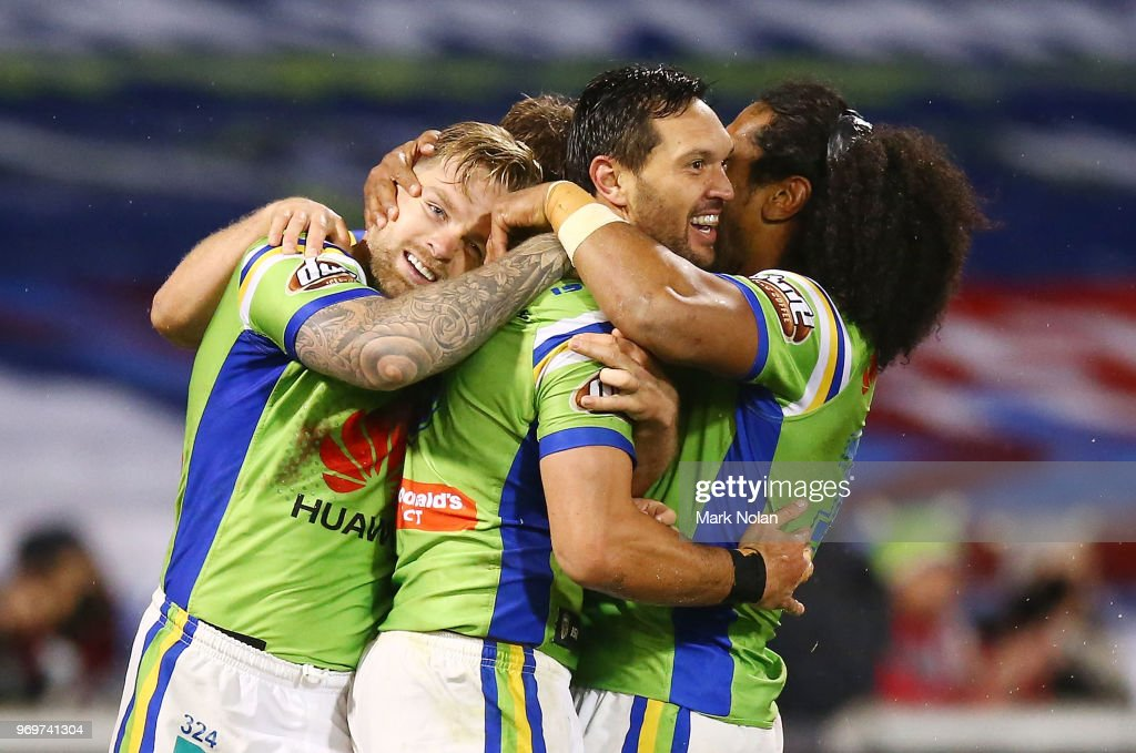 Jordan Rapana of the Raiders is congratulated after scoring during the round 14 NRL match between the Canberra Raiders and the Penrith Panthers at GIO Stadium on June 8, 2018 in Canberra, Australia.
