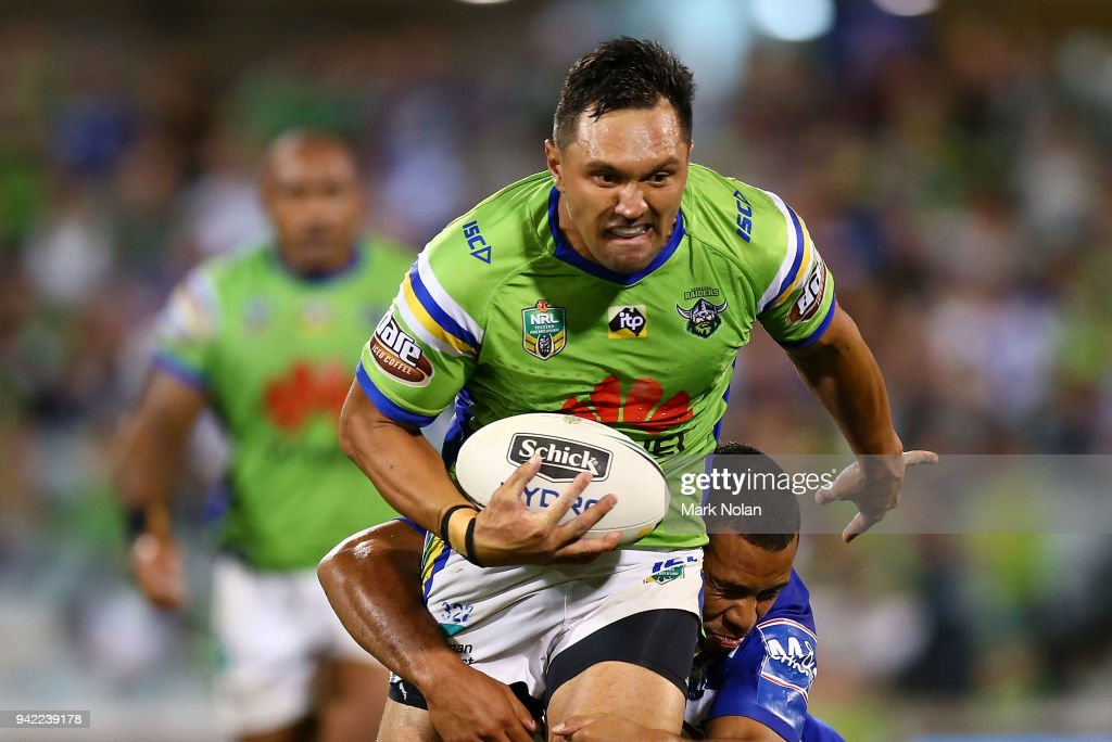 Jordan Rapana of the Raiders is tackled during the round five NRL match between the Canberra Raiders and the Canterbury Bulldogs at GIO Stadium on April 5, 2018 in Canberra, Australia.