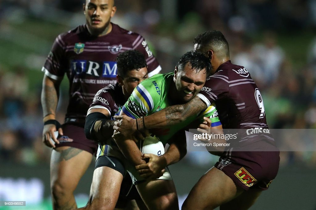 Jordan Rapana of the Raiders is tackled during the round four NRL match between the Many Sea Eagles and the Canberra Raiders at Lottoland on March 31, 2018 in Sydney, Australia.