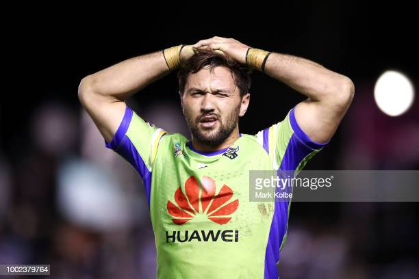 Jordan Rapana of the Raiders looks dejected after defeat during the round 19 NRL match between the Cronulla Sharks and the Canberra Raiders at...