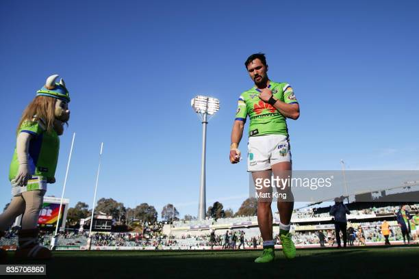 Jordan Rapana of the Raiders looks dejected as he leaves the field at fulltime during the round 24 NRL match between the Canberra Raiders and the...