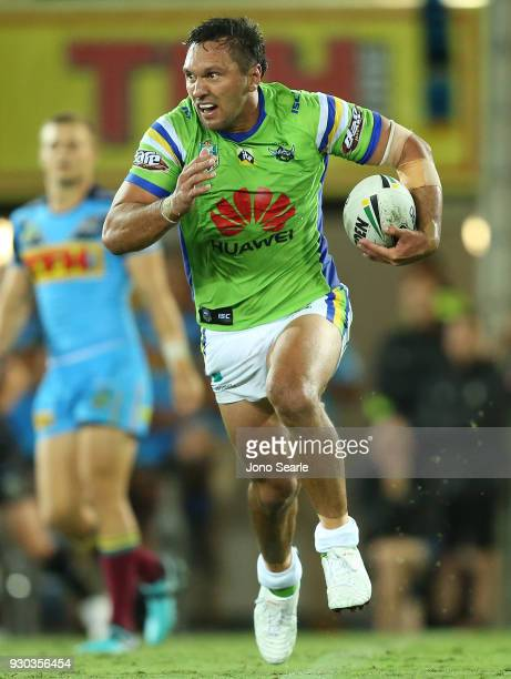 Jordan Rapana of the Raiders runs with the ball during the round one NRL match between the Gold Coast Titans and the Canberra Raiders at Cbus Super...