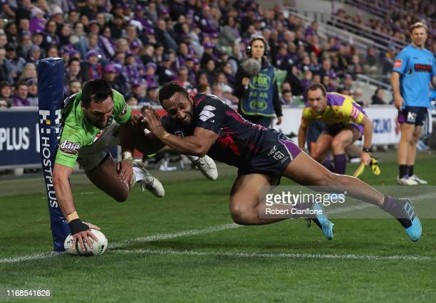 Jordan Rapana of the Raiders scores a try during the round 22 NRL match between the Melbourne Storm and the Canberra Raiders at AAMI Park on August...