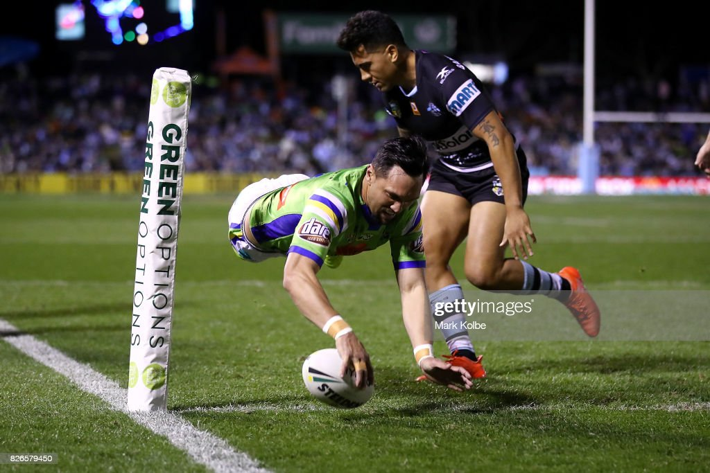 Jordan Rapana of the Raiders scores a try during the round 22 NRL match between the Cronulla Sharks and the Canberra Raiders at Southern Cross Group Stadium on August 5, 2017 in Sydney, Australia.