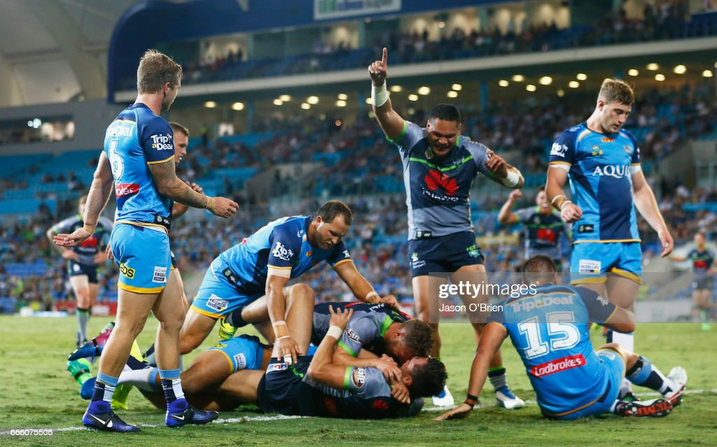 Jordan Rapana of the Raiders scores a try during the round six NRL match between the Gold Coast Titans and the Canberra Raiders at Cbus Super Stadium on April 8, 2017 in Gold Coast, Australia.