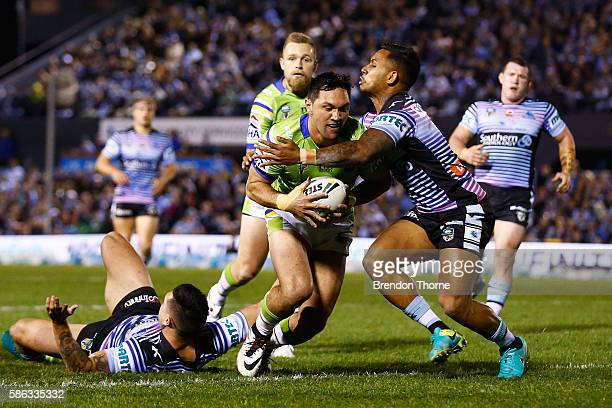 Jordan Rapana of the Raiders scores his first try during the round 22 NRL match between the Cronulla Sharks and the Canberra Raiders at Shark Park on...