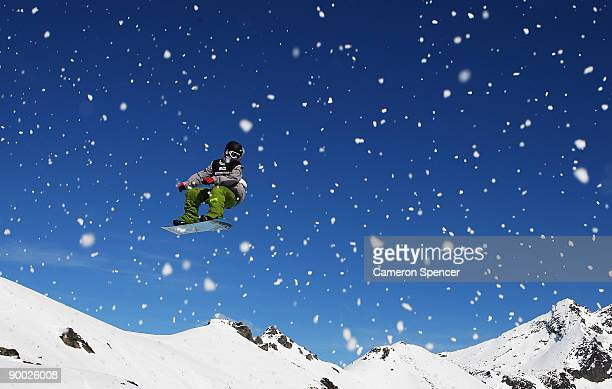 Jordan Rehrer of the USA competes in the mens snowboardslopestyle during day two of the Winter Games NZ at The Remarkables on August 23 2009 in...