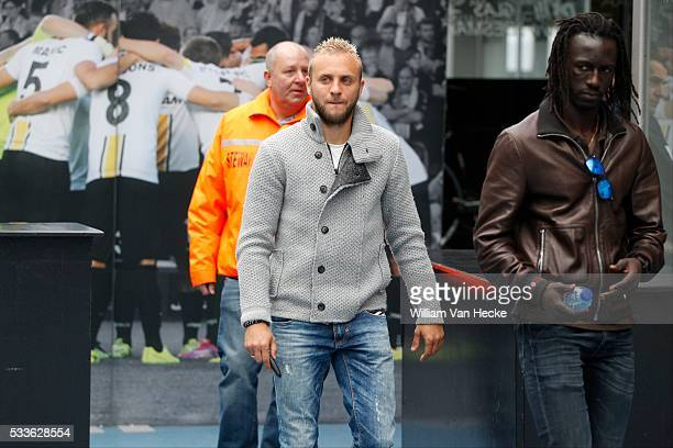 Jordan Remacle and Mbaye Leye of Sporting Lokeren pictured the day after the heart failure of Gregory Mertens during the match between KRC Genk and...