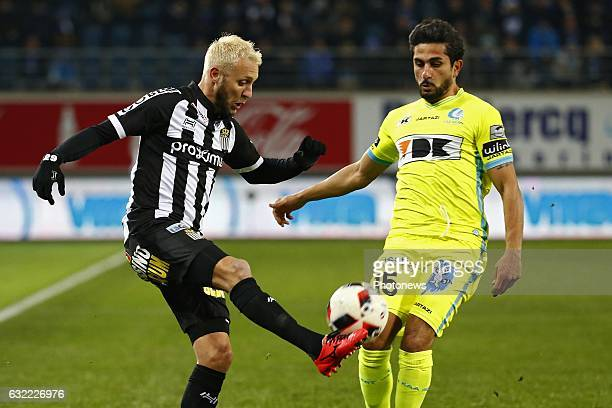 Jordan Remacle midfielder of Sporting Charleroi and Kenneth Saief midfielder of KAA Gent during the Jupiler Pro League match between KAA Gent and R...