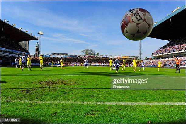 Jordan Remacle of KAA Gent scores a penalty during the Jupiler Pro league match between Kaa Gent and Club Brugge KV on September 30 in Gent Belgium