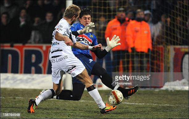 Jordan Remacle of OHL and Glenn Verbauwhede of Westerlo during the Jupiler League match between Westerlo and OH Leuven on February 11 2012 in...
