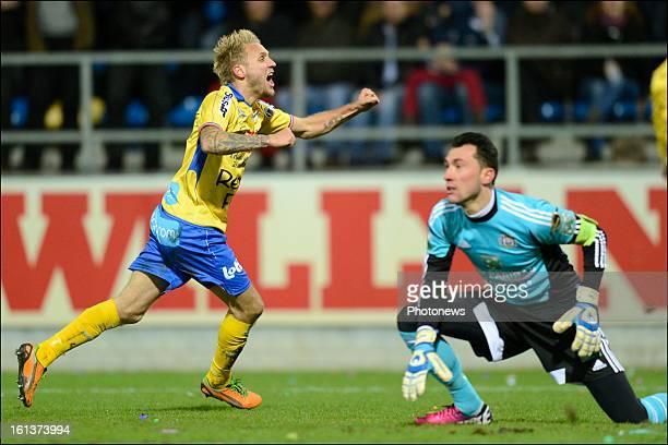 Jordan Remacle of Waasland Beveren celebrates scoring a goal during the Jupiler League match between Waasland Beveren and RSC Anderlecht on February...