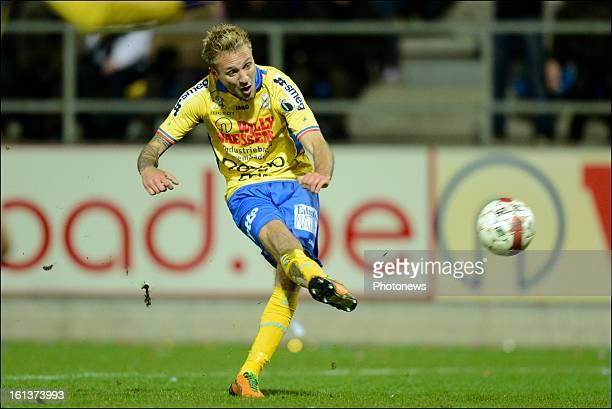 Jordan Remacle of Waasland Beveren scores the opening goal during the Jupiler League match between Waasland Beveren and RSC Anderlecht on February 10...