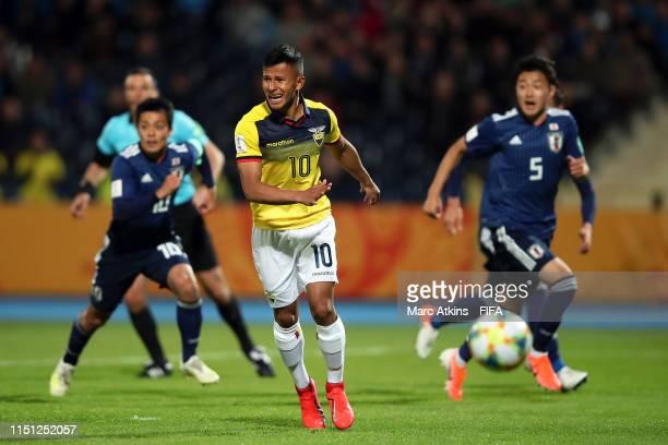 Jordan Rezabala of Ecuador reacts after his penalty kick was saved during the 2019 FIFA U20 World Cup group B match between Japan and Ecuador at...