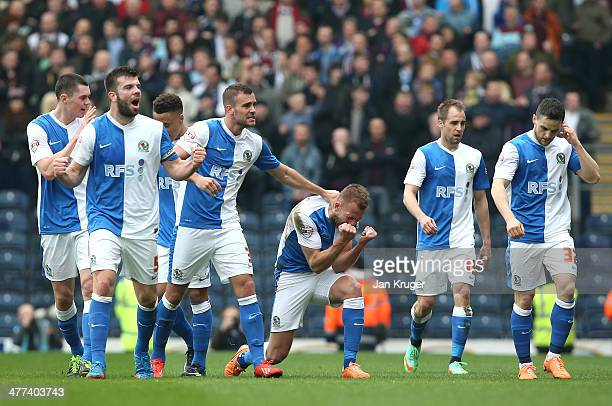 Jordan Rhodes of Blackburn Rovers celebrates his goal during the Sky Bet Championship match between Blackburn Rovers and Burnley at Ewood Park on...