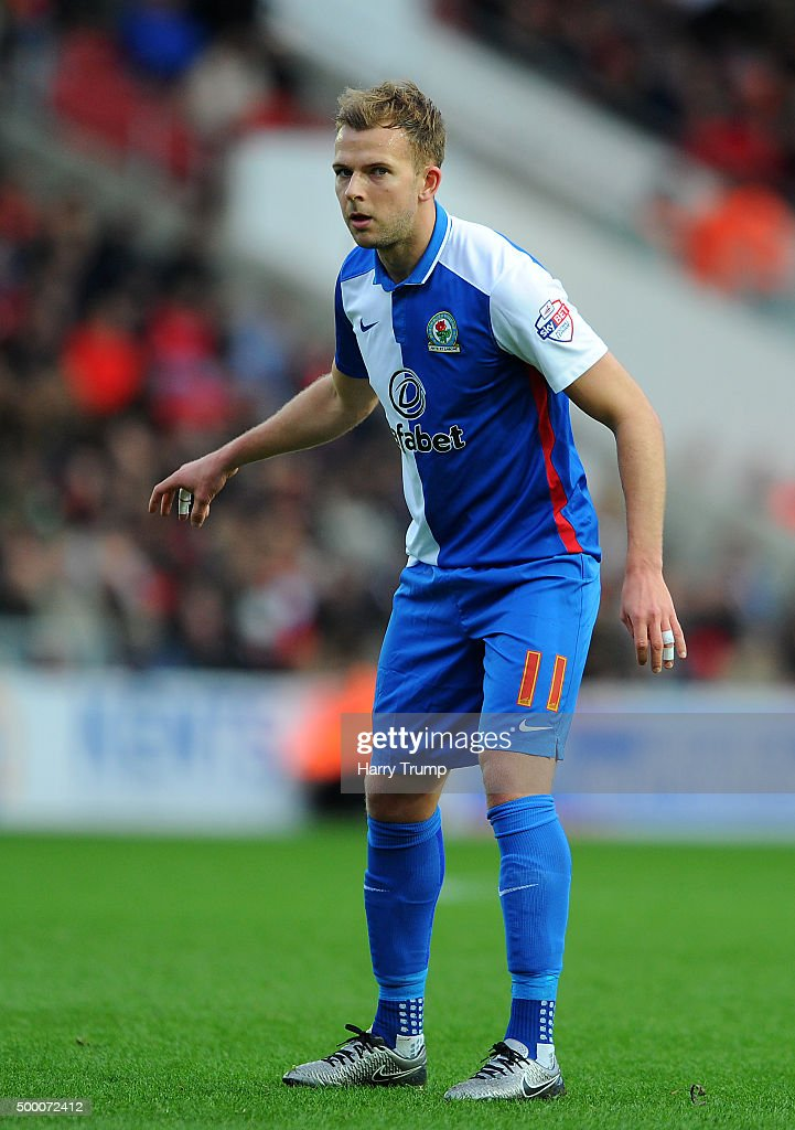 Jordan Rhodes of Blackburn Rovers during the Sky Bet Championship match between Bristol City and Blackburn Rovers at Ashton Gate on December 5, 2015 in Bristol, England.