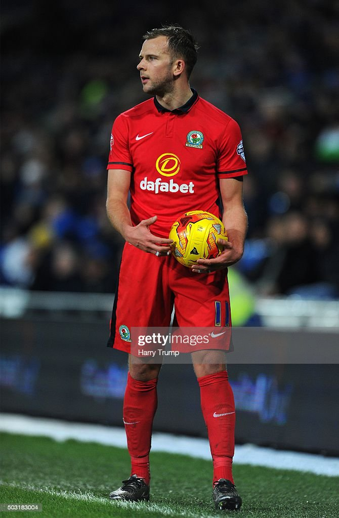 Jordan Rhodes of Blackburn Rovers during the Sky Bet Championship match between Cardiff City and Blackburn Rovers at the Cardiff City Stadium on January 2, 2016 in Cardiff, Wales.